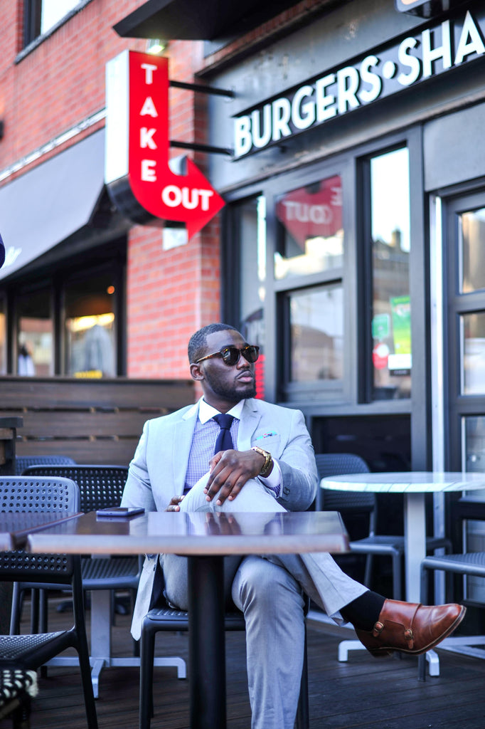 Jesse Aboagye Grey Suit_Gingham Shirt 2