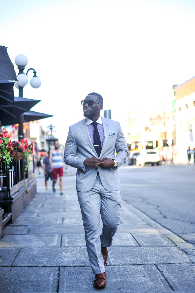 Jesse Aboagye Grey Suit_Gingham Shirt 1
