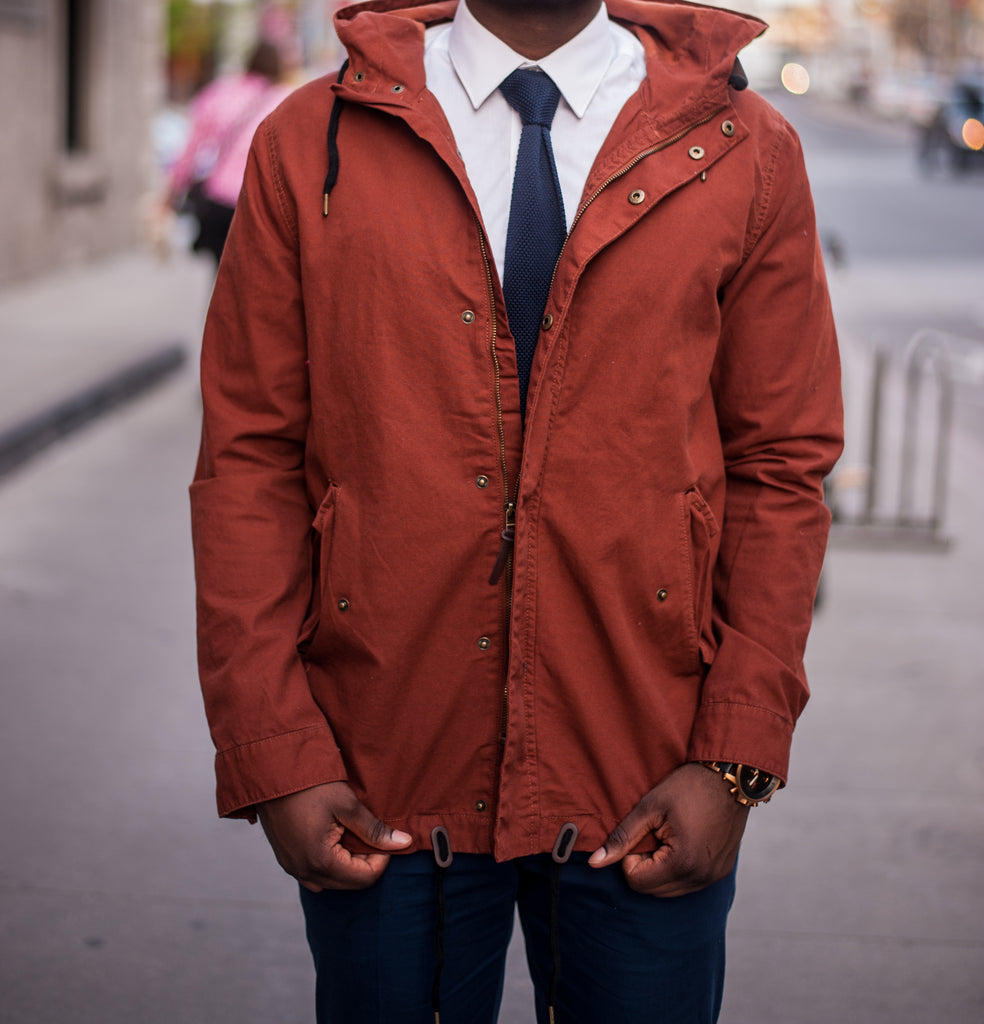 Jesse Aboagye Rain Jacket and Tie Look 3