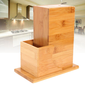 Bamboo Knife Block with storage compartment