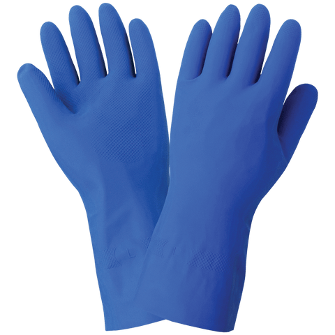 FrogWear Blue Unlined 13-Mil Rubber Latex Unsupported Gloves with Diamond Pattern Grip - LIMITED STOCK