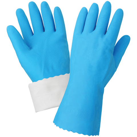 FrogWear Blue Flock-Lined 18-Mil Rubber Latex Unsupported Gloves with Diamond Pattern Grip