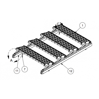 "Tuff Built Adjustable 4 Step Wide Stair Section – 52 1/2"" long. SKU# 15008"