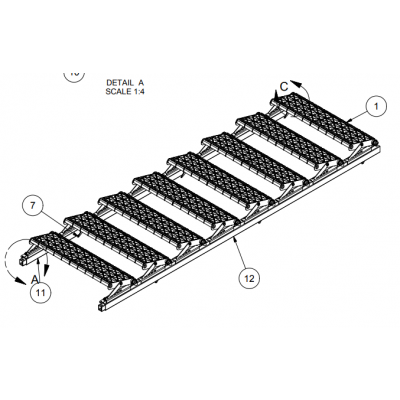 "Tuff Built Products Adjustable 8 Step Wide Stair Section – 104"" long. SKU# 15009"