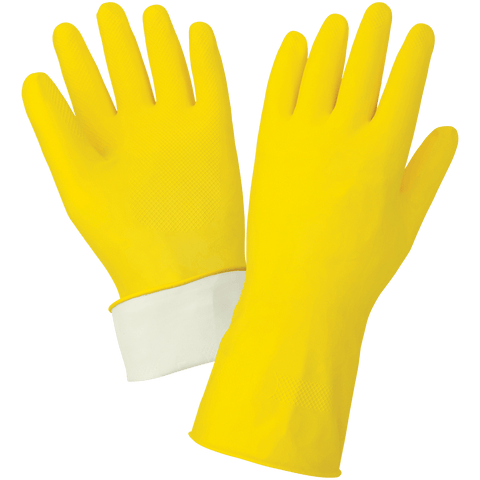 Economy Flock-Lined Yellow Latex Unsupported Gloves with Diamond Pattern Grip