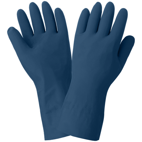 FrogWear Blue Unlined 17-Mil Rubber Latex Unsupported Gloves with Diamond Pattern Grip