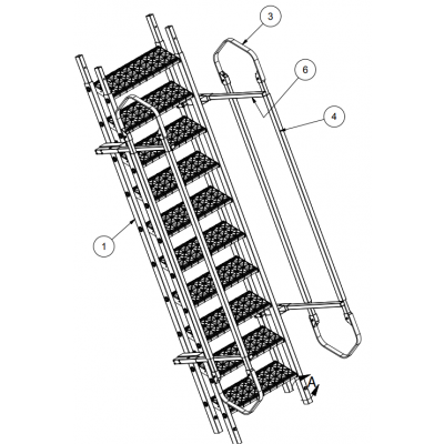 Tuff Built Products Para Stair Assembly Wide, 10 Steps (handrails both sides). SKU# 15114