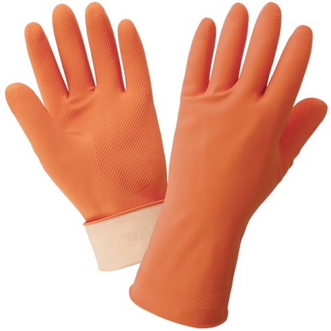 FrogWear Orange 18-Mil Flock-Lined Latex Diamond Pattern Grip Unsupported Gloves