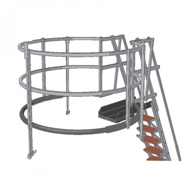 Tuff Built Products, Mobile Access Stair System, 6' diameter aluminum cage with Rubber Bumpers. SKU# 20039