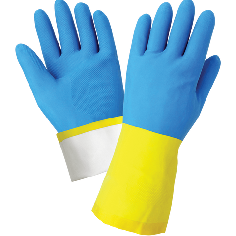 Flock-Lined 26-Mil Yellow Rubber Latex with a Blue Neoprene Coating Unsupported Gloves