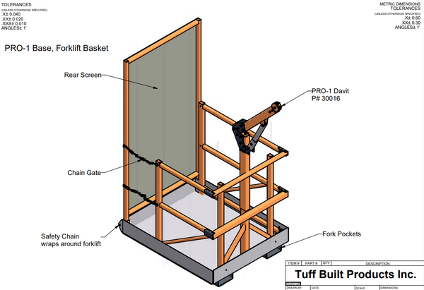 Tuff Built Products PRO-1 Series Forklift basket.  Pro-1 Forklift Basket is designed for working at height when secured to a forklift.  Weight 295 lbs.  SKU# 30164