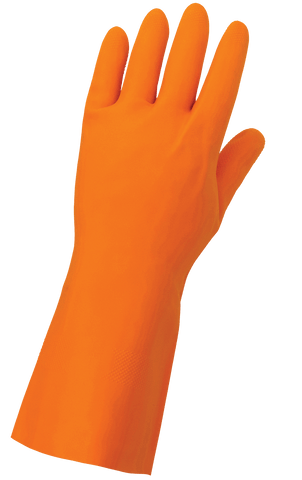 FrogWear Heavy 30-Mil Flock-Lined Orange Rubber Latex with Honeycomb Pattern Grip Unsupported Gloves