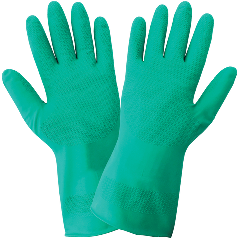Ambidextrous 11-Mil Unlined Green Nitrile Wave Pattern Grip Unsupported Gloves