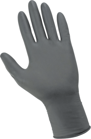 Panther-Guard Heavyweight Nitrile, Powder-Free, Examination-Grade, Steel Gray, 6-Mil, Flock Lined, Textured Fingertips, 9.5-Inch Disposable Gloves