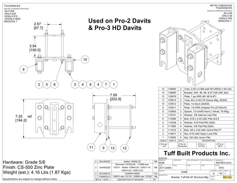 Tuff Built Products Tuff Klik Structure Bracket #7 Tube, 68mm for PRO-1 Winches.  SKU# 60142