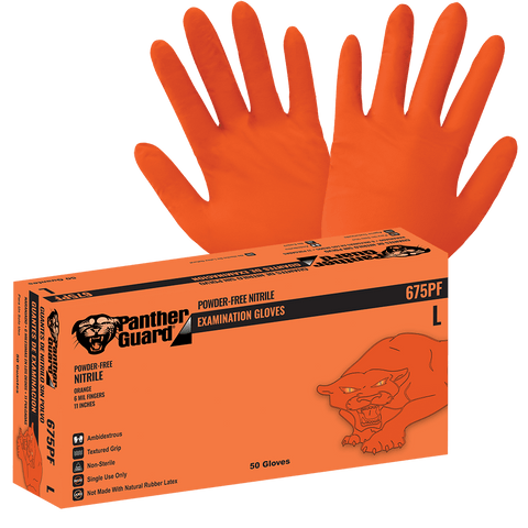 Panther-Guard Heavyweight Nitrile, Powder-Free, Examination-Grade, High-Visibility Orange, 6-Mil, Textured Fingertips, Aloe-Coated Interior, 11-Inch Disposable Gloves