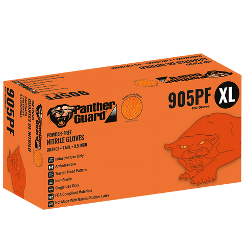 Panther-Guard Heavyweight Nitrile, Powder-Free, Industrial-Grade, High-Visibility Orange, 7-Mil, Tractor Tread Pattern, 9.5-Inch Disposable Gloves