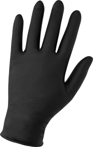 Panther-Guard Heavyweight Nitrile, Powder-Free, Industrial-Grade, Raised Micro-Diamond Pattern, Black, 6-Mil, 9.5-Inch Disposable Gloves
