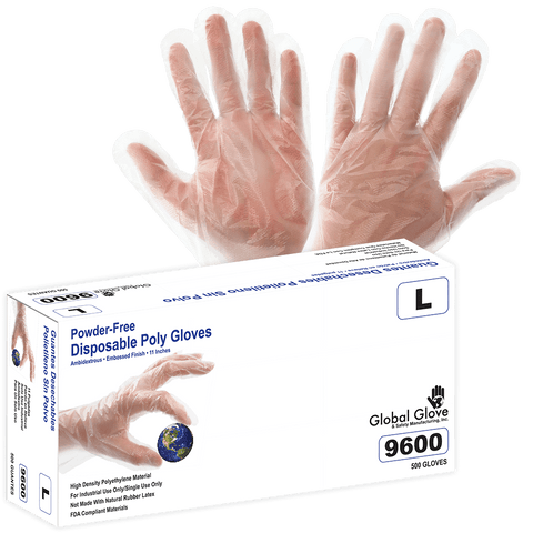 Polyethylene, Powder-Free, Industrial-Grade, Clear, Embossed Finish, 11-inch, Disposable Gloves