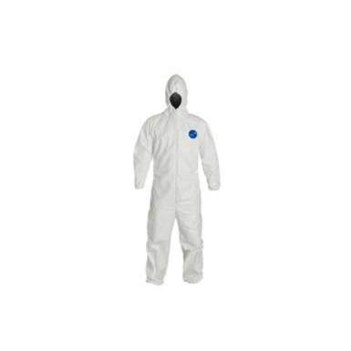 Hooded Disposable Coveralls with Elastic Cuff, White/Blue, 4XL, Tyvek® 400 D, P/N DPPTY127SWH4X00
