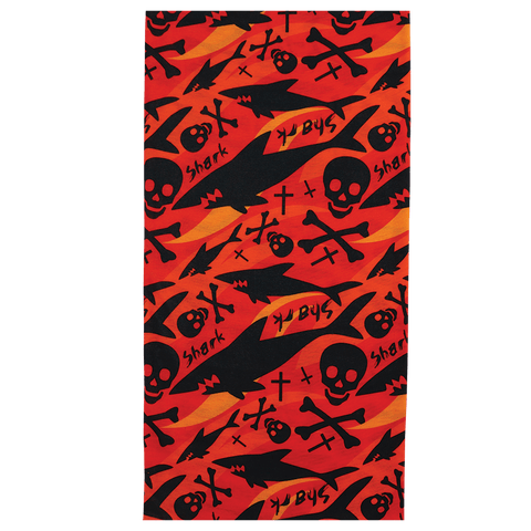 FrogWear Multi-Function Neck Gaiter, Orange and Black Shark and Cross Bones Design