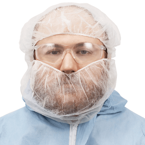 FrogWear White Polypropylene Disposable Beard Covers