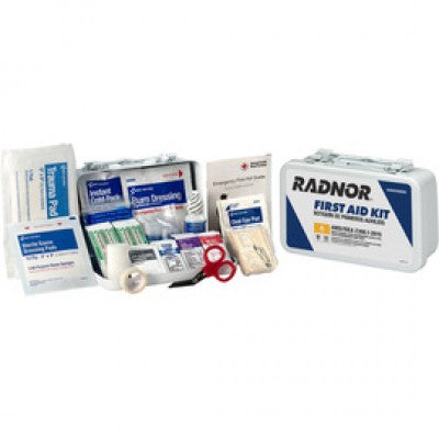 Radnor White Metal Portable Or Wall Mounted 10 Person First Aid Kit RAD64058050
