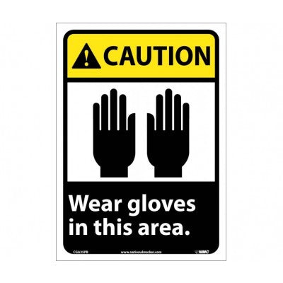 Caution Wear Gloves In This Area Sign CGA35PB