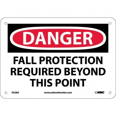 DANGER FALL PROTECTION REQUIRED BEYOND THIS POINT Sign D528A