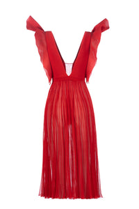 MEDUSA long dress rosso lucente