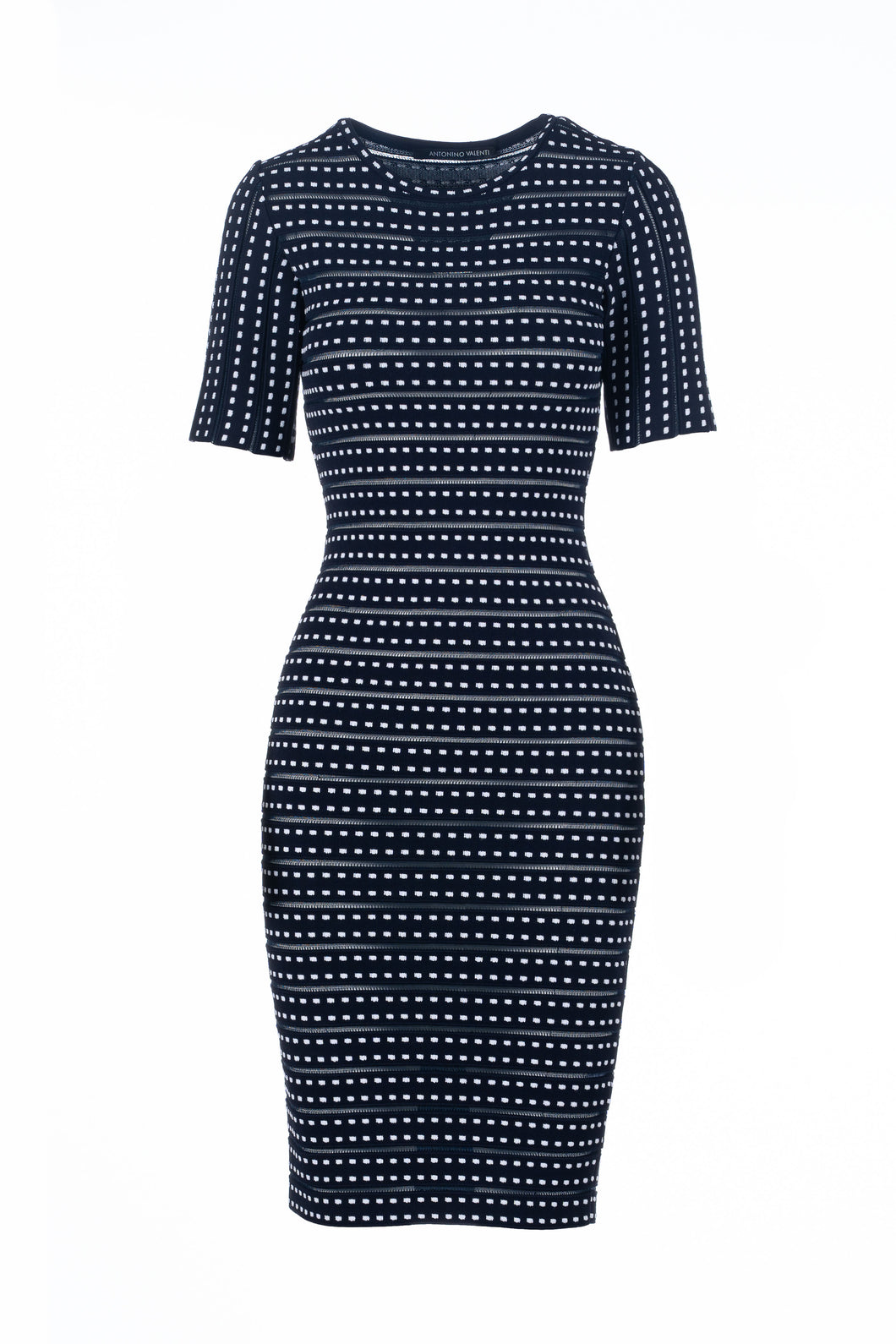 BIA pencil dress blu/bianco