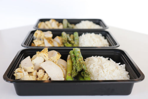chicken breast with steamed asparagus and basmati rice bowl
