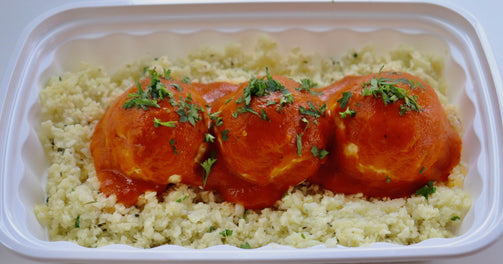 Chicken Meatballs in homemade Marinara sauce on a bed of Cauliflower mint and basil Rice - FIT BY ELIA