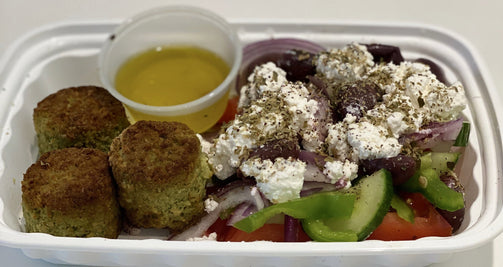 Traditional Greek Salad with Falafel - FIT BY ELIA