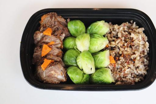 Dry-rub BBQ Brisket with Brown Rice and Roasted Brussel Sprouts - FIT BY ELIA