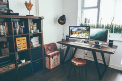 Tiny Home Office | Brighten your office by making space near windows