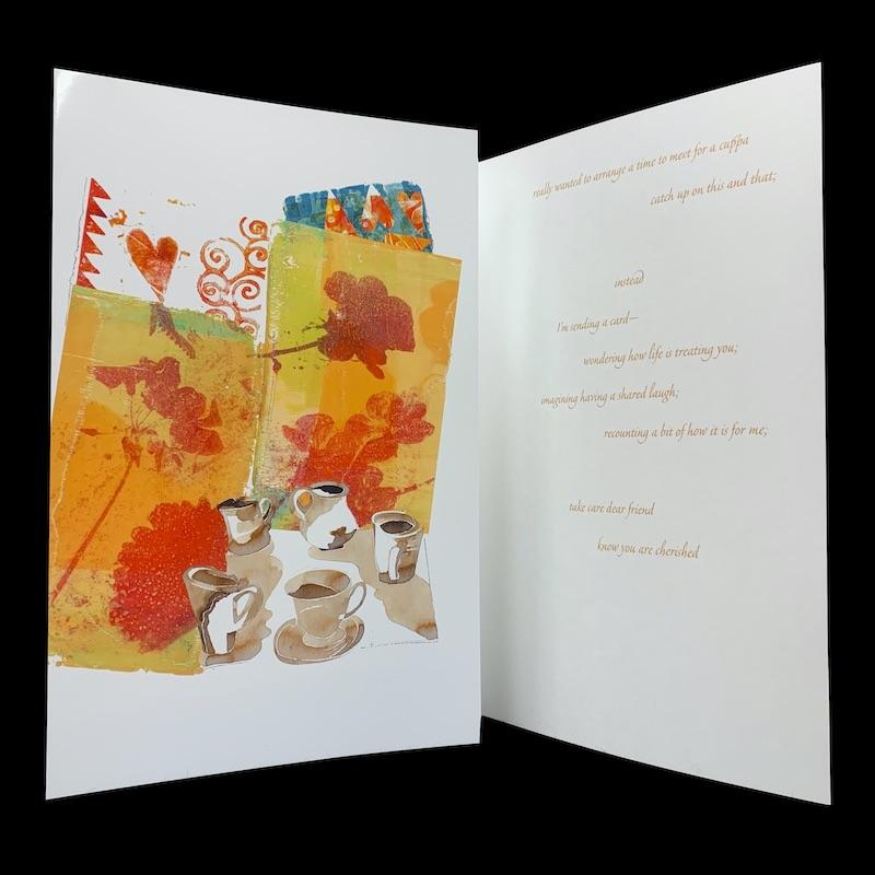 really wanted to arrange a time for a cuppa, designer friendship card