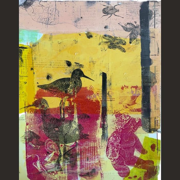monoprint, teddy bear, shore birds, insects, map, yellow, magenta
