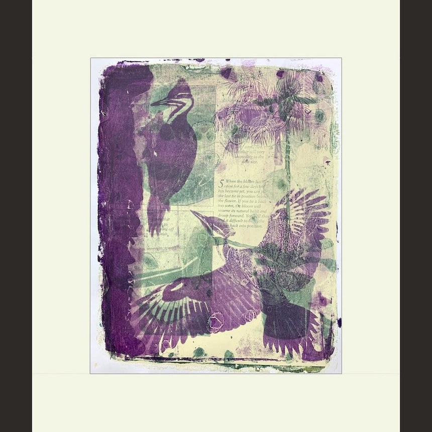 monoprint, woodpeckers, palm trees, orchid, purple, green