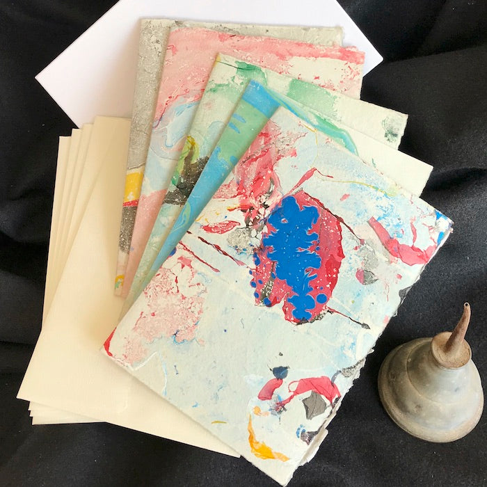 soft hued marbled hand-made note card, hand-made paper