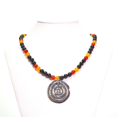 "Nguluman ""Large Waterhole"" Aboriginal Flag Colours Necklace"