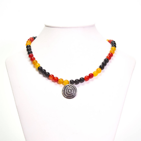 "Ngulburnan ""Waterhole"" Black Yellow Red Agate Necklace"