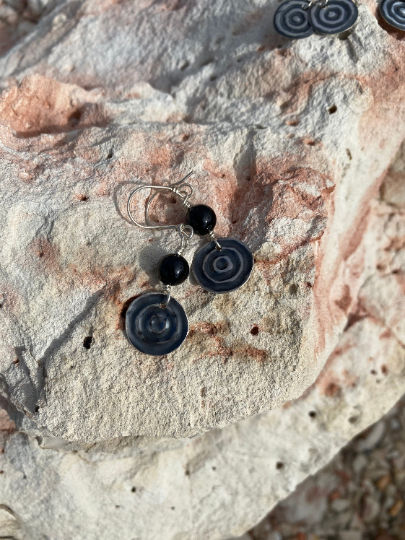 Black Agate Waterhole Sterling Silver Earrings