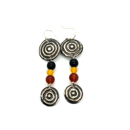 "Bula Ngulburnan, yuriyawi ""Two Waterholes"" Agate Earrings"