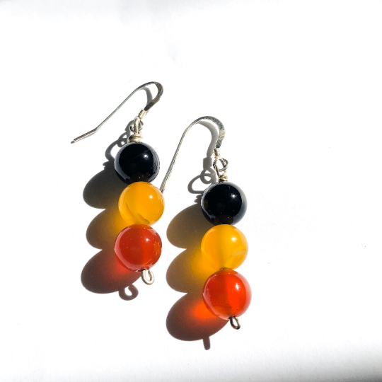 Sterling silver and Black Yellow Red Agate Earrings Aboriginal Flag Colours