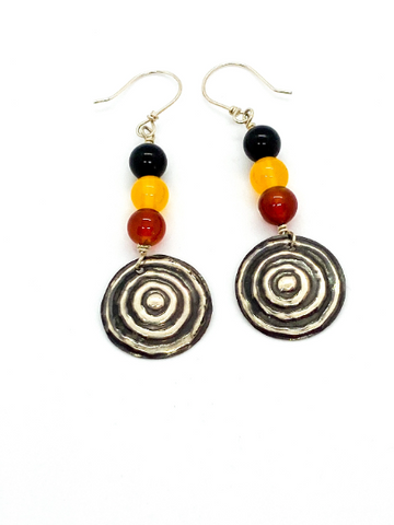 "Ngulburnan, yuriyawi ""Waterhole""  Black Yellow Red Agate Earrings"