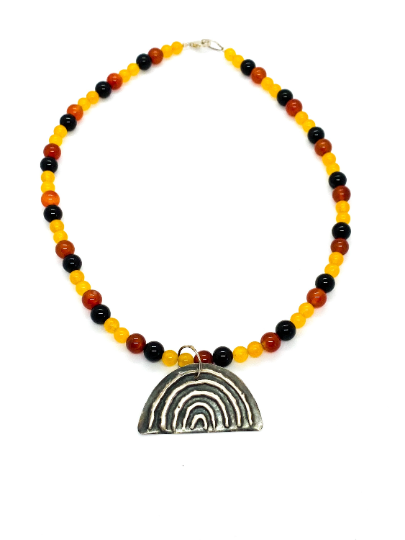 "Yulubirrngiin, gunhungurraan ""Rainbow"" Necklace Black Yellow Red Agate"