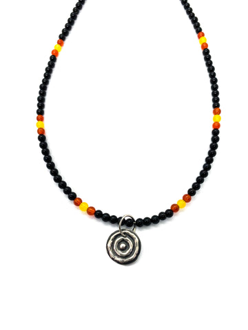 "Ngulburnan, yuriyawi ""Waterhole"" Black Yellow Red Agate Necklace"