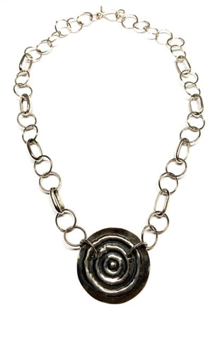 "Nguluman, ""Large Waterhole"" Sterling Silver Necklace"