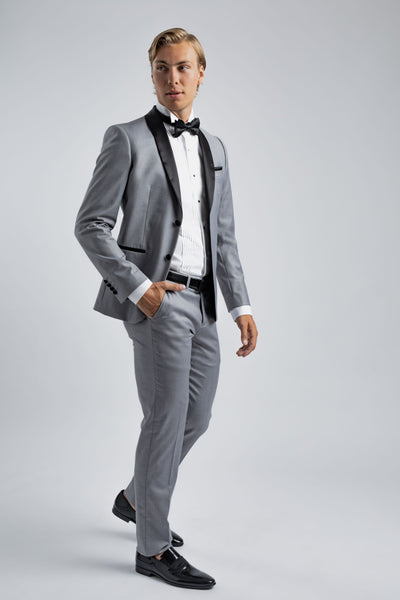Gray & Black Suit with bow tie